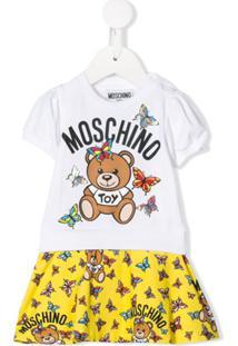 Moschino Kids Vestido Mangas Curtas Com Logo - Branco
