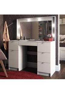 Penteadeira Camarim Bi Com Espelho 5 Gavetas 1 Porta Branco - Pnr Móveis