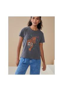 Amaro Feminino T-Shirt Estampa Tigre Stars, Cinza