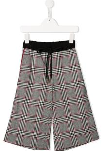 Gaelle Paris Kids Cropped Houndstooth Trousers - Preto