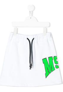Msgm Kids Saia De Moletom Com Logo Contrastante - Branco