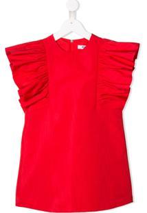 Msgm Kids Vestido Com Pregas - Vermelho