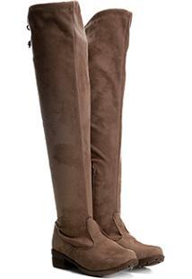 d1a5e7842 Bota Over The Knee Infantil Menina Fashion Camurça Feminina -  Feminino-Marrom Claro