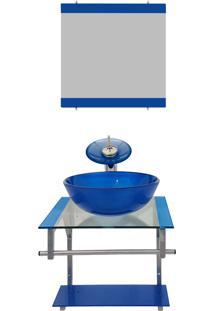Gabinete De Vidro Para Banheiro Croácia Azul Escuro Ekasa