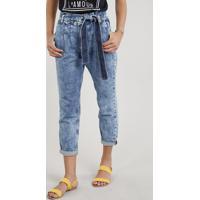 3ba63d567 Calça Jeans Feminina Clochard Com Faixa Para Amarrar Azul Médio