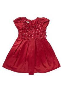 Vestido Infantil Borboletas 3D - Anjos Baby Chic Vermelho