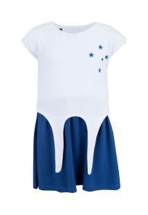 Vestido Do Cruzeiro Pop 19 - Infantil - Branco/Azul Esc