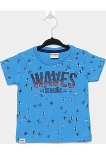 Camiseta Infantil Fakini Surf Masculina - Masculino-Azul