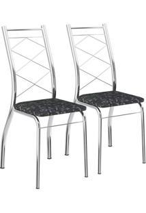 Conjunto 2 Cadeiras Cromada Para Cozinha Móveis Carraro