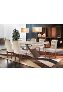 Conjunto De Mesa De Jantar Com Vidro E 6 Cadeiras Imperatriz I Veludo Creme E Off White
