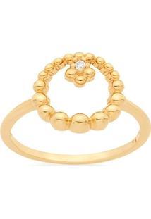 Anel Skinny Ring Vazado Com Esferas E Zircônia Rommanel - Feminino