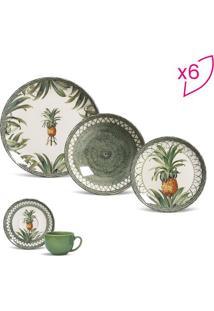 Aparelho De Jantar Pineapple- Verde Escuro & Off White