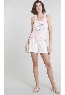 Pijama Feminino Coala Regata Rosa