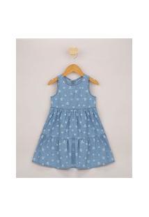 Vestido Jeans Infantil Curto Estampado Floral Alça Larga Azul Claro