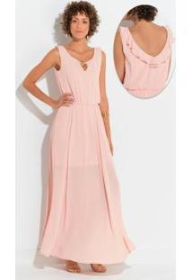 Vestido Quintess Rosa Com Babado E Argola
