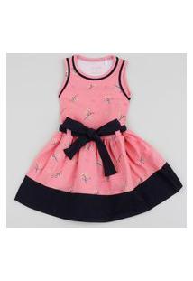 Vestido Infantil Com Faixa Para Amarrar Rosa