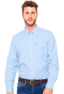 Camisa Tommy Hilfiger Masculina Classic Fit Capote Blue Azul Claro
