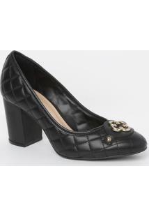 Sapato Em Couro Matelassê- Preto & Dourado- Salto: 8Capodarte