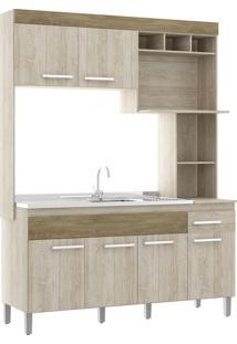 Cozinha Compacta 6 Portas 1 Gaveta S/ Tampo New Verona Decibal Moveis Malbec/Wood