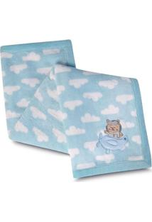 Manta Bebe Fleece Bordado Urso Azul Lepper