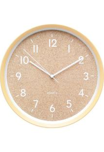 Relógio De Parede Cork Style- Amarelo & Bege- Ø30X5Curban