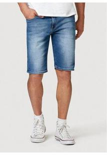 Bermuda Jeans Hering Slim Com Barra Dobrada Masculina - Masculino-Azul