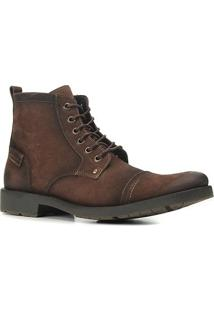 Bota Coturto Couro Shoestock Básica Masculina - Masculino-Café