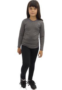 Camiseta Térmica Question Sport Com Fleece Interno Infantil Cinza Mescla
