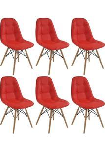 Conjunto 6 Cadeiras Eiffel Botonê Eames Dsw Vermelha