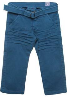 Calça Chino Com Cinto - Vr Kids - Masculino-Azul