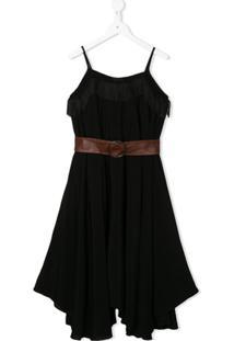 Monnalisa Vestido Com Detalhe De Franjas E Cinto - Preto