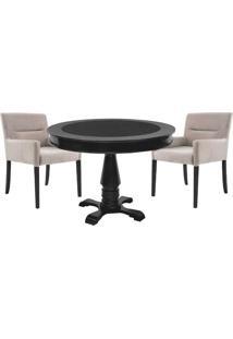 Mesa De Jogos Carteado Redonda Victoria Tampo Reversível Preto Com 2 Cadeiras Vicenza Nude - Gran Belo
