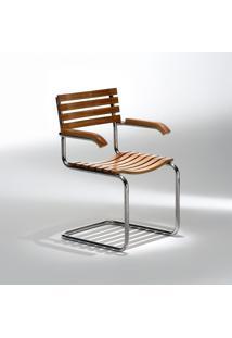 Cadeira Lami Aço Inox E Madeira Tonalizada Design By Studio Mais