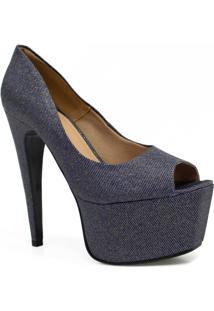 7092013c9 Sapato Zariff Shoes Peep Toe Meia Pata Festa - Feminino-Azul