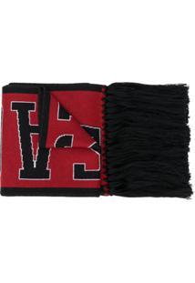 Versace Cachecol De Lã Com Logo - Vermelho