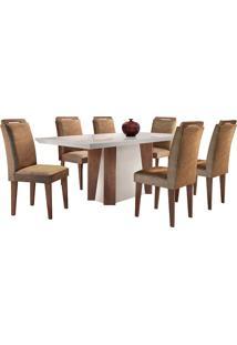 Conjunto De Mesa Para Sala De Jantar Retangular Com 6 Cadeiras Helena/Athenas-Rufato - Animalle Chocolate / Off White / Café