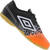 Centauro. Chuteira Futsal Umbro Wave In - Adulto - Preto Laranja 31e2f32661be8