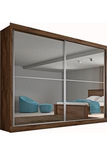 Guarda Roupa Casal 2 Portas Com Espelho E 4 Gavetas Verona Plus– Made Marcs - Brauna