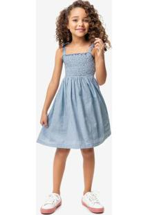 Vestido Azul Claro Anarruga Malwee Kids
