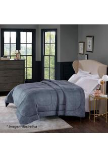 Edredom Alaska Home Design King Size- Cinza Escuro- Corttex