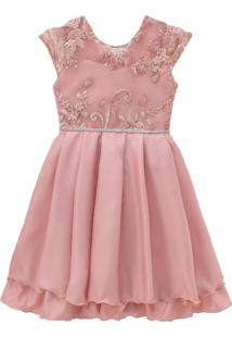 Vestido Infantil De Festa Libelinha Com Tule Bordado - Rosê