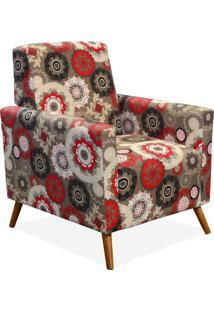 Poltrona Decorativa Para Sala De Estar Pés Palito Liz Floral Vermelho - Lyam Decor