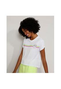 Camiseta Feminina Ampla Simba O Rei Leão Com Listras Manga Curta Decote Redondo Off White