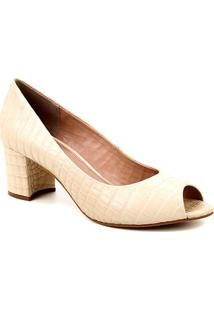 Peep Toe Couro Shoestock Basic Salto Bloco Medio - Feminino-Off White