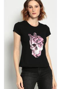 Camiseta Caveira- Preta & Rosa - ÊNfaseãŠNfase