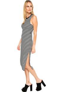 Vestido Ellus 2Nd Floor Midi Ryon Stripes Preto/Branco