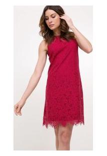 Vestido Em Renda Com Decote Redondo