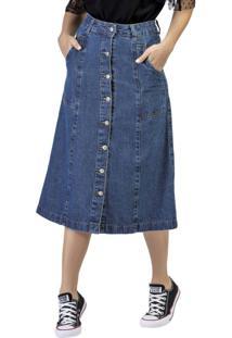 Saia Jeans Midi Botões Azul