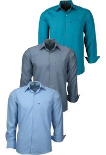 Kit 3 Camisas Social Amil Tecido Não Amassa 832 Verde Escuro/Chumbo/Azul Bebê