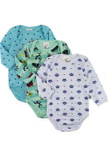 Body Para Beb㪠Era Uma Vez Kit Com 3 Peã§As Em Suedine Estampado Para Menino - Azul - Menino - Dafiti
